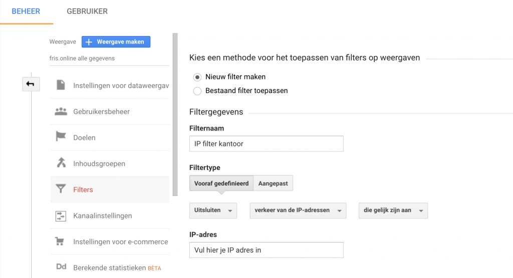 IP filter instellen in Google Analytics